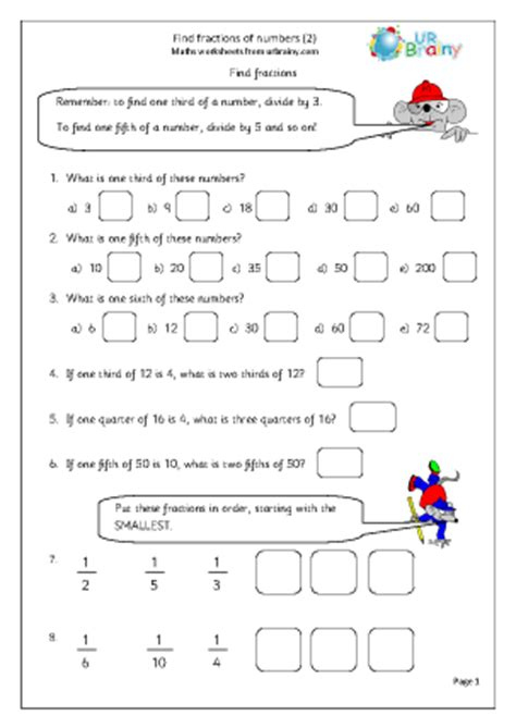 find fractions of numbers 2 fractions maths worksheets