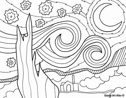 Coloring Pages Artist Famous Gogh Van Starry