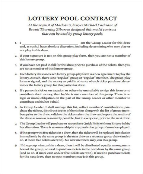 lottery contract template 8 lottery syndicate agreement form sles free sle exle format