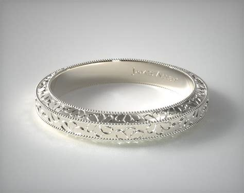 hand engraved james allen wedding ring  white gold