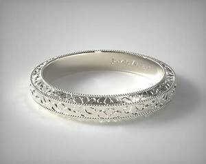 Hand Engraved James Allen Wedding Ring 14K White Gold