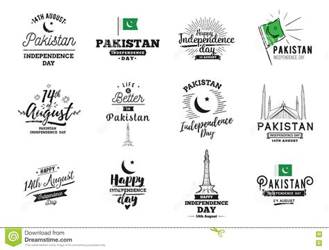 Pakistan Independence Day, 14th August. Vector Emblems ...