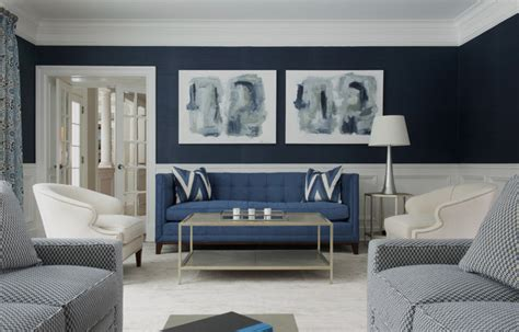 Blue And Brown Bathroom Decorating Ideas by Darien Transitional Transitional Living Room New