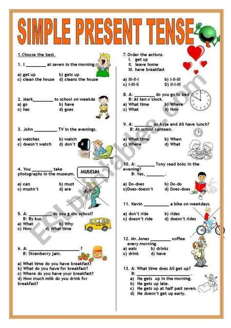 printable exercises  simple present tense letter