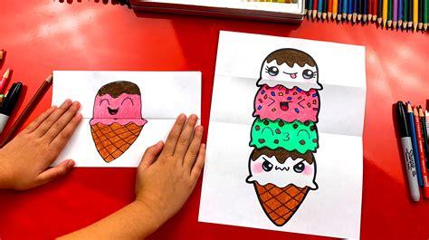 draw  ice cream tower folding surprise art