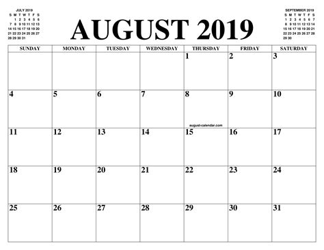 august calendar month printable august