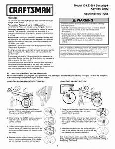 Keypad Garage Door Opener Craftsman Instructions