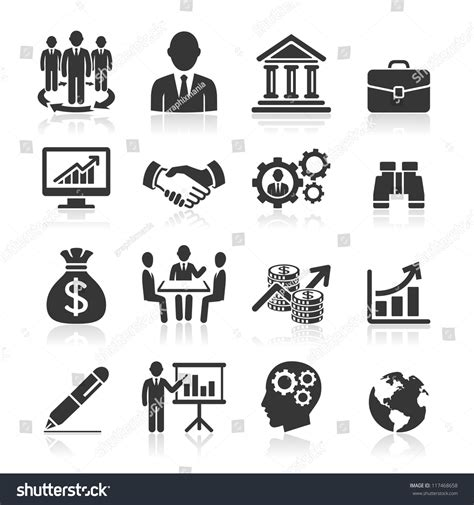 14701 business icon vector business icons management human resources set1 stock