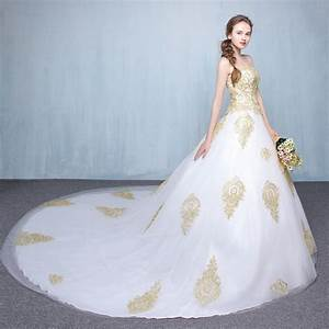 vintage white gold lace wedding dress ball gown 2017 With white and gold wedding dresses