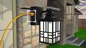 sunbeam led wall lantern with gfci and sensor youtube With outdoor plug in porch light
