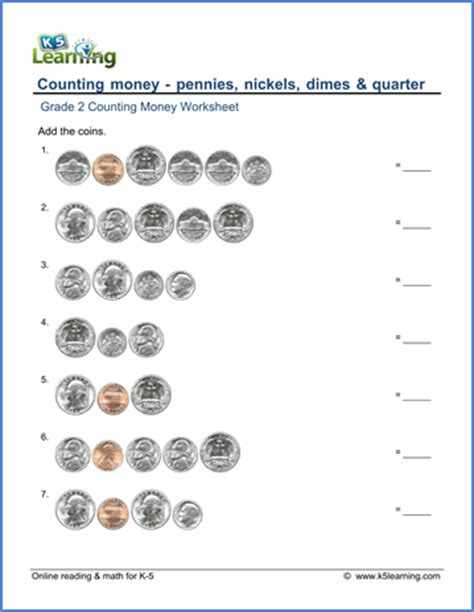 grade 2 counting money worksheet pennies nickels dimes