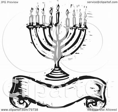 Menorah Clipart Banner Carved Blank Royalty Illustration