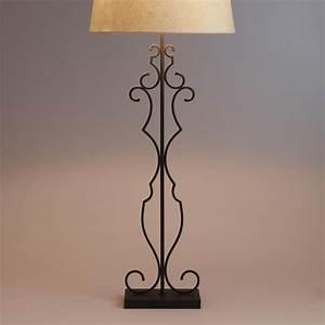 Metal scroll floor lamp base world market for Metal scroll floor lamp
