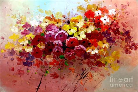 framed floral prints flowers abstract painting original modern