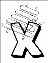 Coloring Xylophone Printable Alphabet Alphabets sketch template