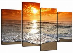 Orange Beach Sunset Canvas Prints (130cm x 67cm)