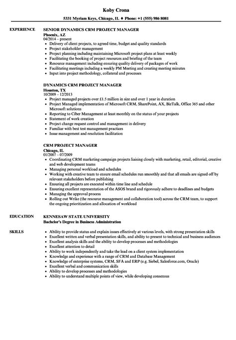 resume format for crm manager crm project manager resume sles velvet
