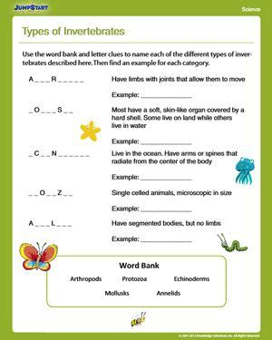 types of invertebrates free science worksheet for 4th grade nats worksheets 4th grade