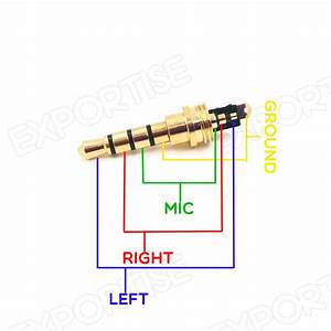Red Copper Gold Plated 3 5mm 4 Pole Male Stereo Jack Plug