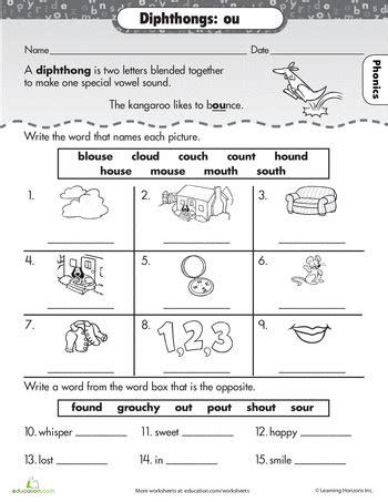 practice reading vowel diphthongs ou school phonics