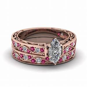 marquise cut antique diamond filigree wedding set with With pink sapphire wedding ring sets