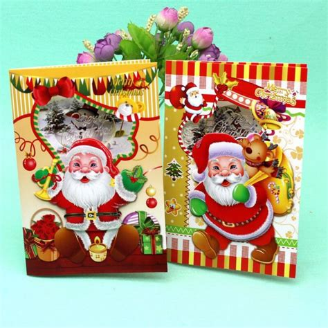 12 pcs lot merry christmas music blessing card santa claus happy new year christmas card gift