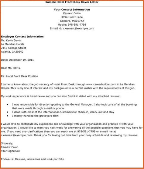 hotel front desk resume resume name