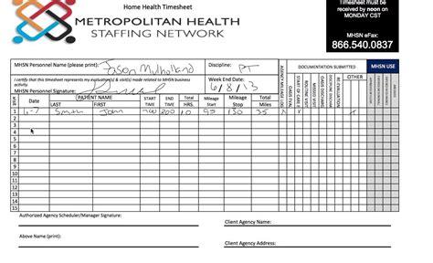 Service Sheet Template Client Home Health Timesheet Mp4