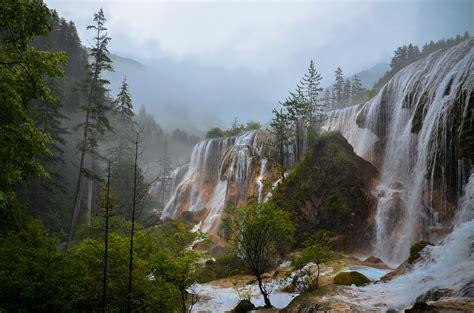 Waterfalls, Mountains, Nature