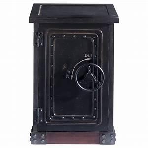 Cabinet de rangement coffre fort en bois noir effet vieilli L 53 cm Bank Maisons du Monde