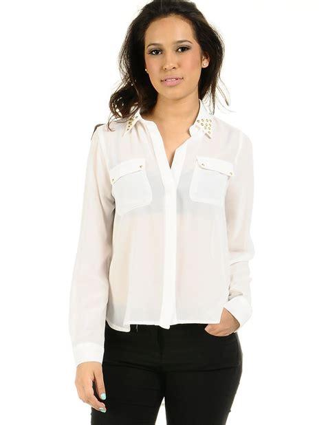 blouson blouse white blouses for wide unique
