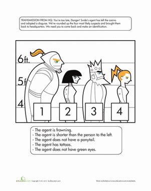catch the crook logic puzzles worksheets and math