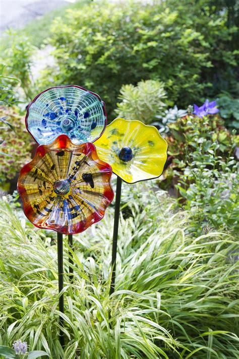 art glass flower garden art stakes gardeners supply