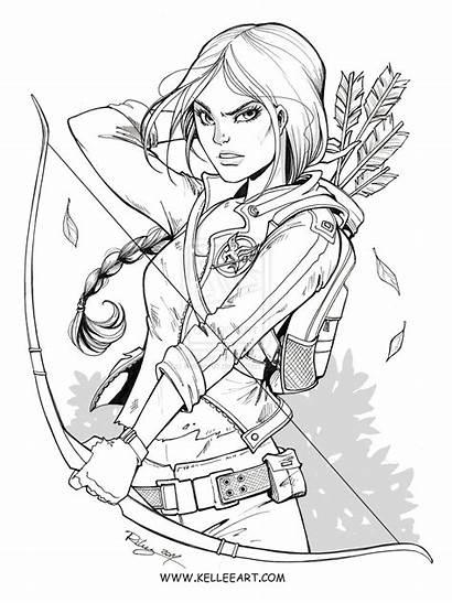 Katniss Deviantart Coloring Drawing Kelleeart Pages Drawings