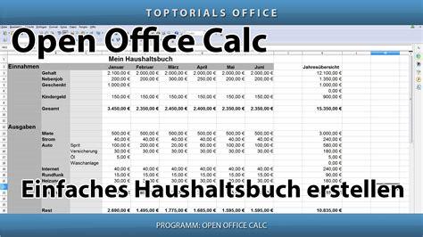 einfaches haushaltsbuch erstellen openoffice calc