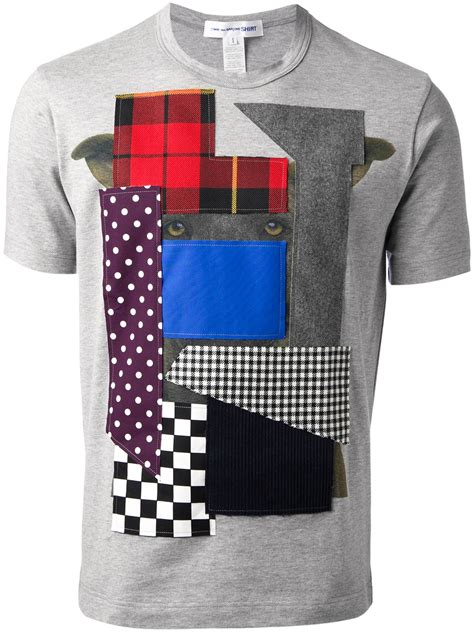 patchwork t shirt lyst comme des garçons patchwork tshirt in gray for