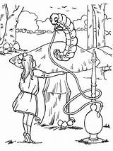 Wonderland Alice Coloring Pages Caterpillar Smoking Hookah Trippy Disney Characters Printable Template Adults Popular Getcolorings Sketch Coloringhome Comments sketch template