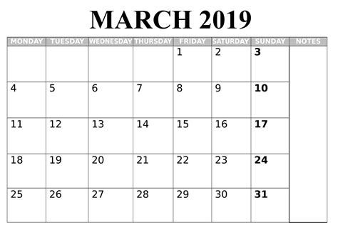 March 2019 Calendar Printable With To Do List