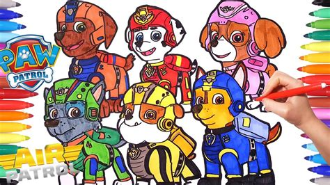 drawing  coloring  paw patrol air adventures paw patrol coloring pages  kids learn