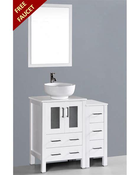 round vessel sink vanity white 36in round vessel sink single vanity by bosconi