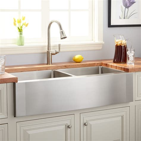 42 Optimum Double Bowl Stainless Steel Farmhouse Sink