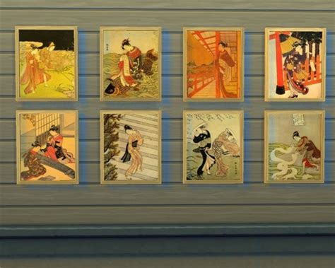 sims 4 japanese paintings