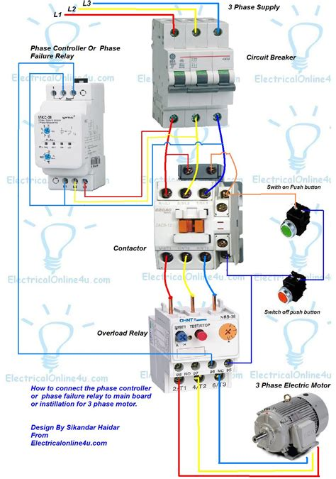 wiring diagram for phase failure relay phase controller wiring phase failure relay diagram electrical online 4u electrical tutorials