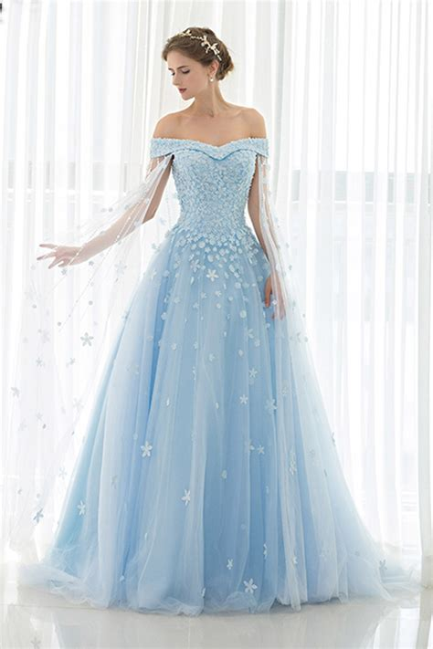 ice blue tulle  shoulder prom dressball gowns wedding