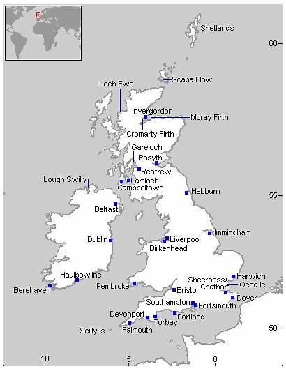 Map 1914 Bases British Naval Navy Royal