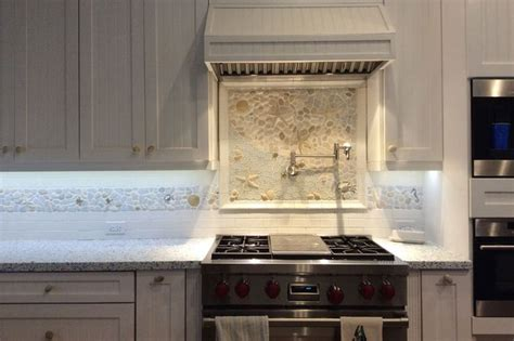 large kitchen backsplash mural created  glass stone  ceramic pieces starfish crabs