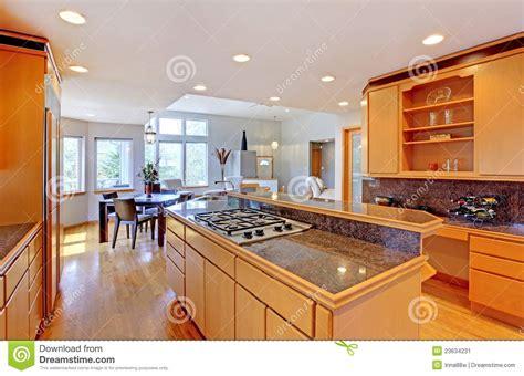 Grande Cozinha De Madeira Moderna Luxuosa. Imagem De Stock