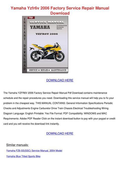 Yamaha Ef3000iseb Wiring Diagram by Yamaha Yzfr6v 2006 Factory Service Repair By