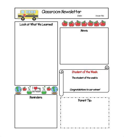 classroom newsletter template   word