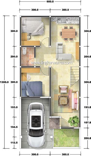 denah rumah dua lantai  luas lahan   kamar